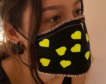 Pretty Hearts Cotton Washable Face Mask