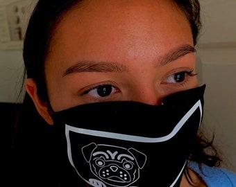 Pug Face Mask Cotton Print