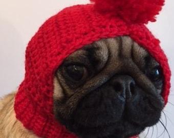 Pug Hat - Pug Balaclava - Pug Bobble Hat - Pet Clothes - Dog Clothing - Dog Hat