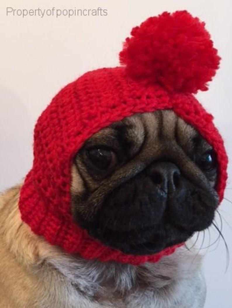 Pug Hat  Pug Balaclava  Pug Bobble Hat  Pet Clothes  Dog image 0