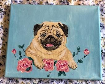 Pug Canvas Painting 24 cm x 30 cm