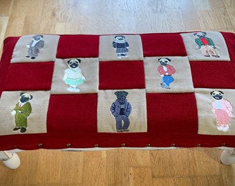 Pug Dog Embroidered Quilted Quality Bespoke Shabby Chic Foot Stool