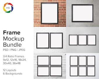 PSD Frame Mockup Bundle - 3:4 Ratio Wall Art Mockup Sets for 9x12, 12x16, 18x24, 30x40, 36x48, Artwork Mockup with 6 Backgrounds - PSD & JPG