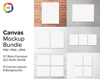 PSD Canvas Mockup Bundle - 5:7 Ratio Painting Mockups for 5x7, 10x14, 20x28, Artwork Mockup with 6 Backgrounds, Print Mockup - PSD & JPG