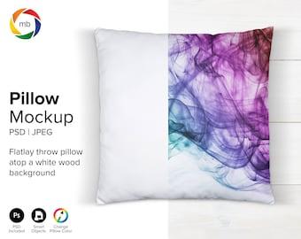 PSD PILLOW MOCKUP - White Pillow Mockup, Throw Pillow Mockup on Wood Background, Throw Pillow Mockup, Square Pillow Mockup - Jpg & Psd