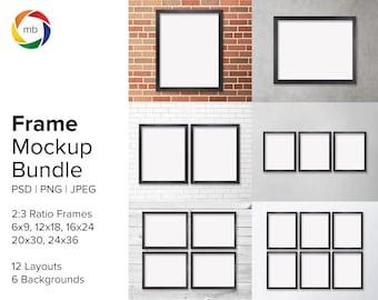 PSD Frame Mockup Bundle - 2:3 Ratio Wall Art Mockup Sets for 6x9, 12x18, 16x24 20x30, 24x36, Artwork Mockup with 6 Backgrounds - PSD & JPG