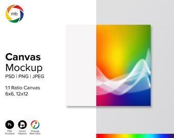 SQUARE CANVAS MOCKUP - Psd Wall Art Mockup for 6x6, 12x12 Square, Change Wall Color, Print Mock Up, Painting Mockup - Jpeg, Png & Psd