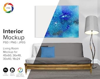 3:4 Ratio LIVING ROOM MOCKUP - Interior Mockup, Artwork Mockup, Poster Mockup, Blank Wall Mockup, Empty Wall Mockup - Psd, Png & Jpeg