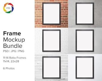 11:14 Ratio ART MOCKUP BUNDLE - Wall Art Mockup for 11x14 and 22x28 with Black Frame, Wall Mockup, Mock Up, Print Mockup - Jpg & Png