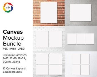 PSD Canvas Mockup Bundle - 3:4 Ratio Painting Mockups for 9x12, 12x16, 18x24, 30x40, 36x48, Artwork Mockup with 6 Backgrounds - PSD & JPG