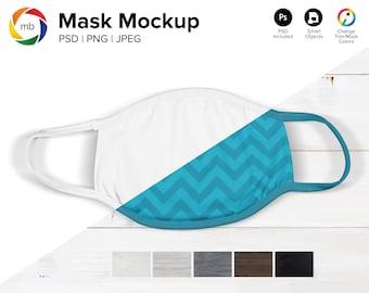 MASK MOCKUP BUNDLE - White Face Mask Mockup with Seven Different Backgrounds, Face Mask Mock Up, Mask Mock-Up - Psd, Jpeg, png