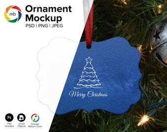 PSD ORNAMENT MOCKUP - Benelux Ornament Mock Up on Tree, Christmas Mockup, Blank Ornament Mockup, Holiday Mockup, Mock Up - Psd, Png & Jpg