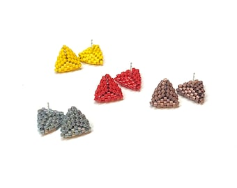 Triangle Glass Seed Bead Earrings