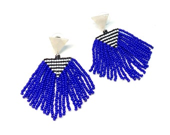 Handwoven Seed Bead Geometric Earrings