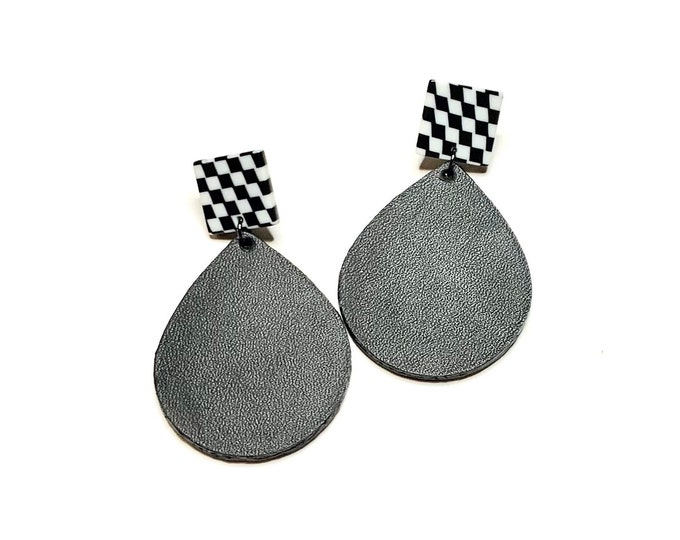 Genuine Leather Tear Drop Earrings