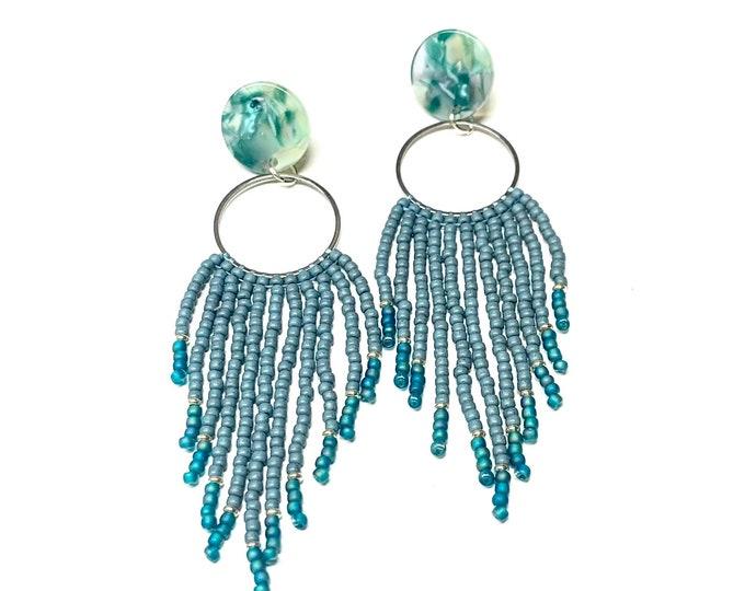 Ocean Blue Seed Bead Fringe Earrings