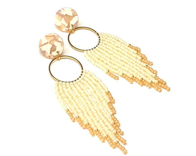 Acetate and Seed Bead Fringe Earrings