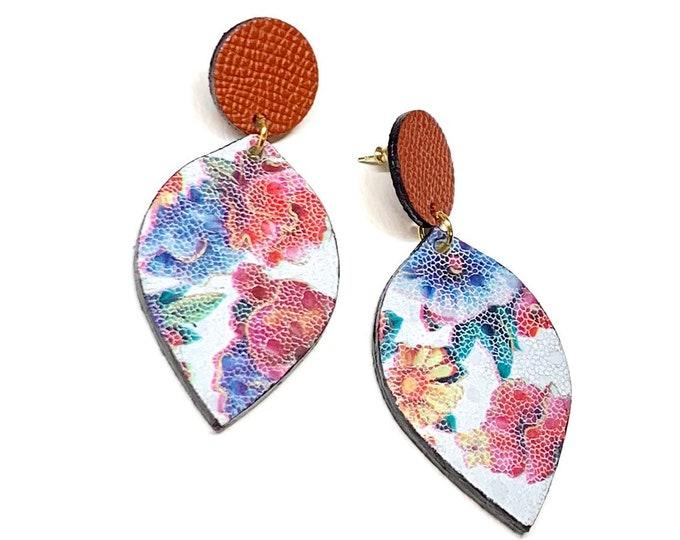 Genuine Leather Floral Earrings