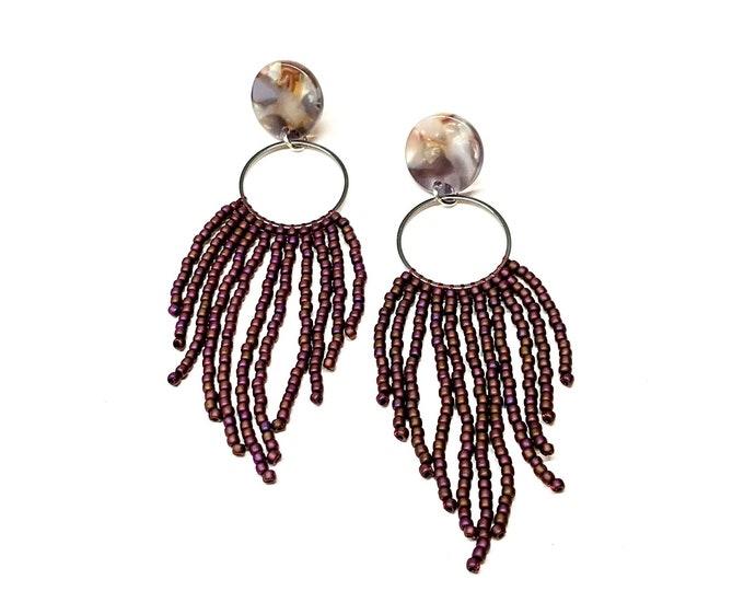 Fringe Seed Bead Earrings