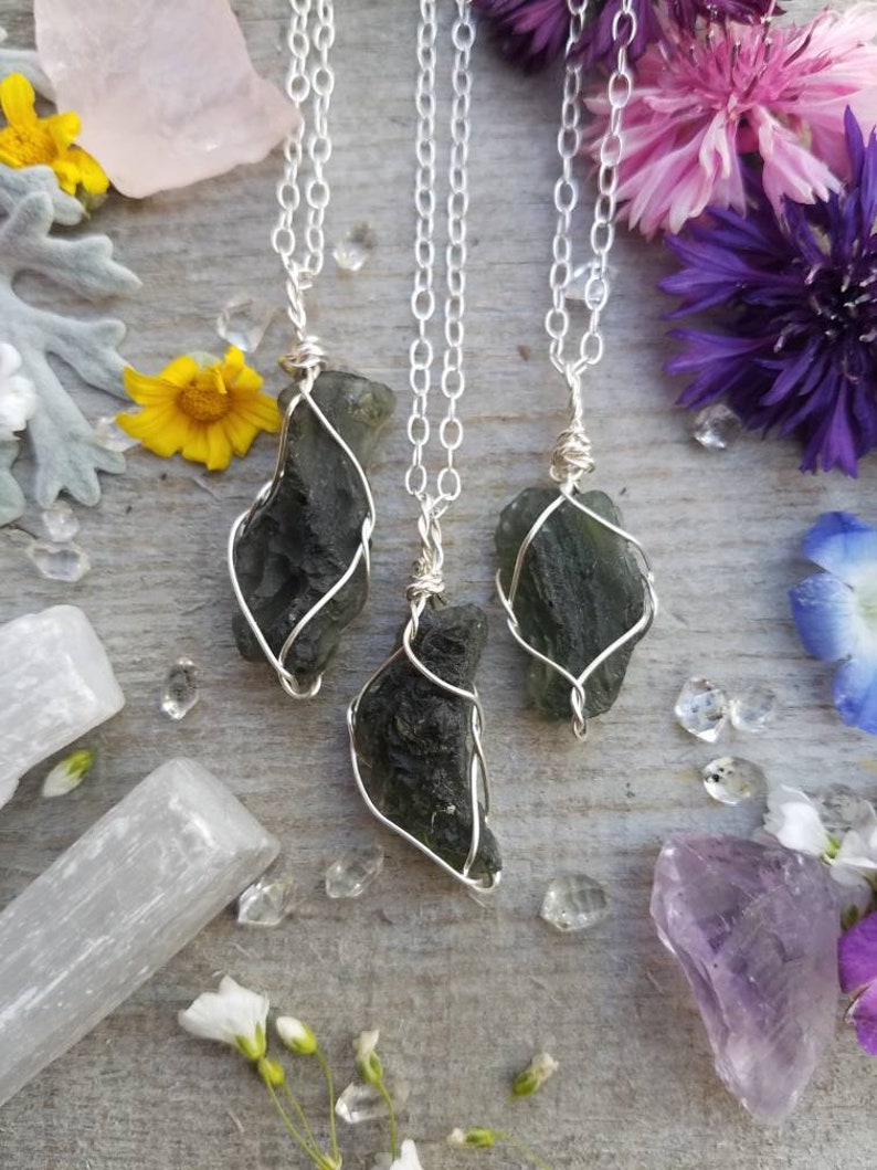 7b8459ca3f4f2 Genuine Moldavite 3+ gram pendant in pure silver, moldavite necklace,  natural moldavite, authentic modavite, silver moldavite pendant