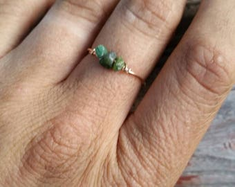 Emerald Crystal ring- made to order. Raw natural authentic genuine earth made Emerald green