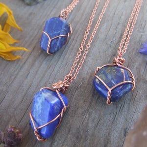 Gemstone Necklace Lapis Necklace Lapis Lazuli Pendant Delicate Necklace Minimalist Pendant Blue Necklace Small Pendant Cord Necklace
