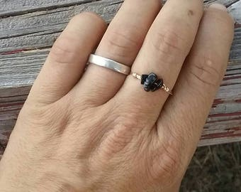 Black Onyx Crystal ring- made to order