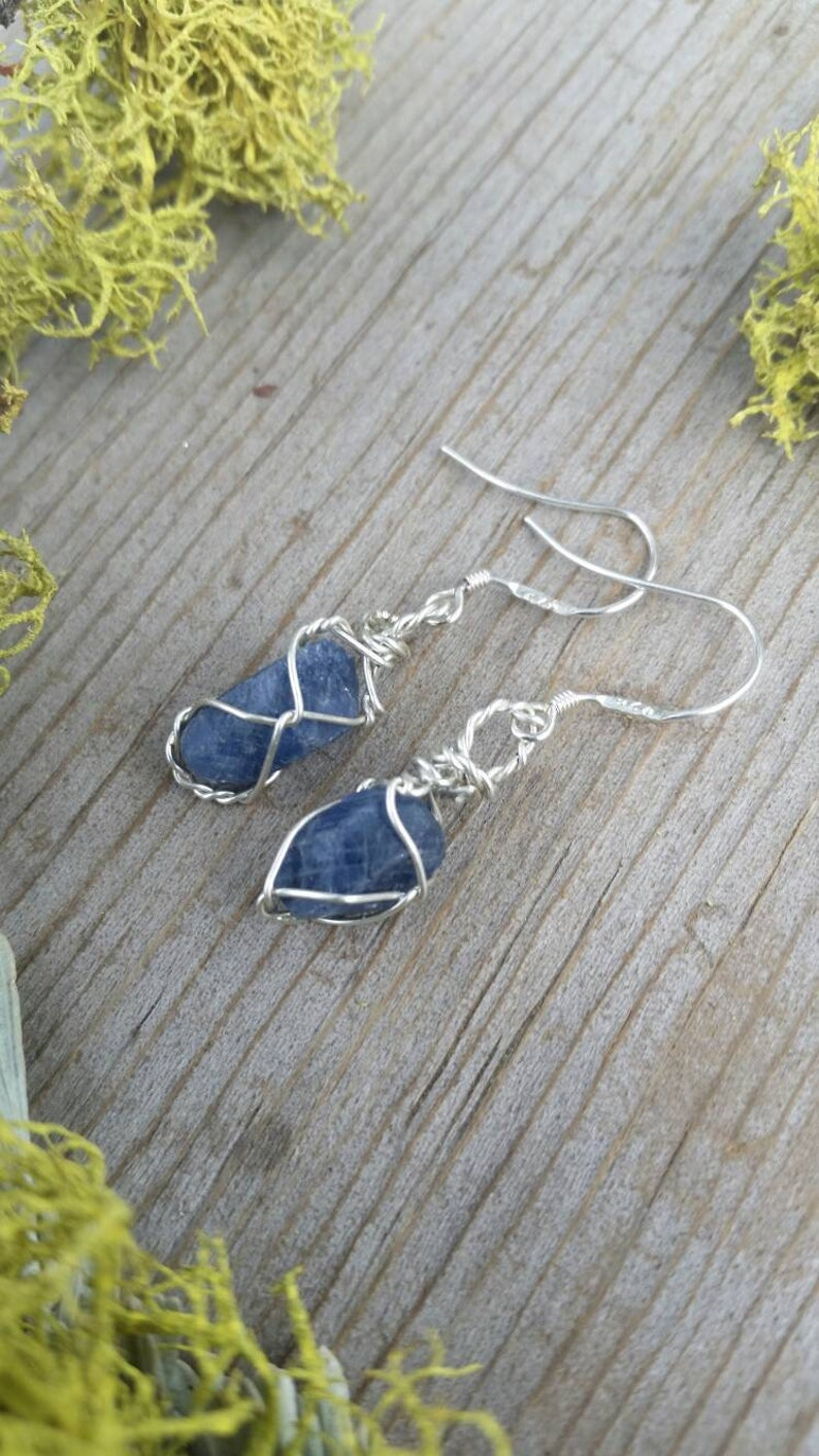 RAW NATURAL sapphire blue crystal earrings with sterling image 0