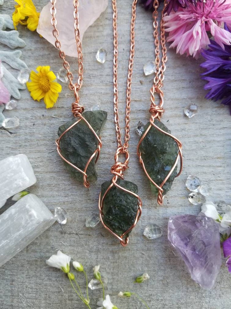 2ec2e09daaceb Genuine moldavite 3+ gram crystal pendant wire wrapped in pure copper,  authentic moldavite, natural moldavite necklace, moldavite pendant