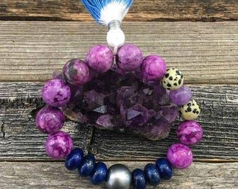 Black Tahitian Pearl Bracelet | Sugilite | Lapis Lazuli | Amethyst | Tassel | Stack Bracelet | Bohemian Bracelet