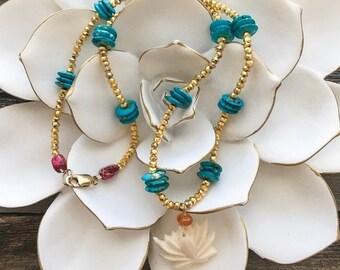 Geschnitzte Knochen Lotus Halskette | Karneol | Pyrit | Jaspis | Böhmische | Edelstein | Zen-Halskette
