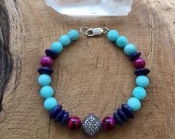 Pave Diamond Bracelet | Lapis Lazuli | Amazonite | Fuchsia Tigers Eye | Bohemian | Gemstone