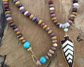 Mookait Halskette | Türkis Halskette | Chalcedon Perlenkette | Pfeilspitze | Böhmischen Halskette