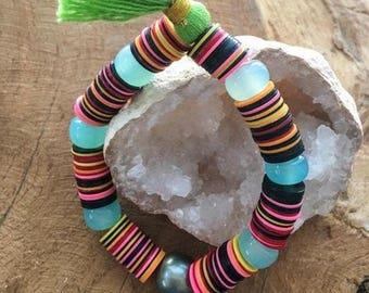 Tahitian Pearl Bracelet | Aqua Chalcedony | African Vinyl Disc | Tassel | Stack Bracelet | Bohemian | Colorful