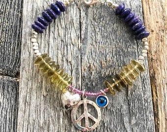 Peace And Love Bracelet | Evil Eye Bracelet | Thai Karen Hill Tribe Silver | Lapis Lazuli | Lemon Quartz
