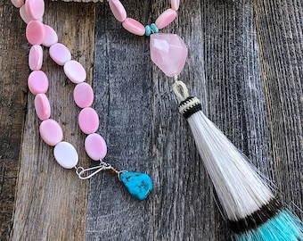 Rosa Conch Shell Halskette | Tahiti-Perle | Rosenquarz | Peruanischen Opal | Türkis | Quaste | Lange Halskette