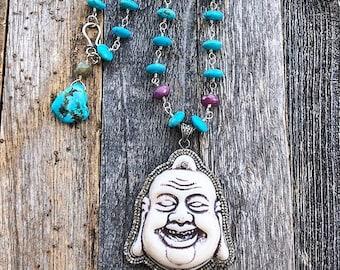 Happy-Buddha Halskette | Pflastern Diamant | Türkis | Rubin | Labradorit | Böhmische | Edelstein | Sterling Silber