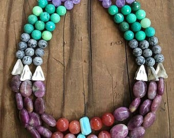 Raw Ruby Necklace | Peruvian Opal | Chrysoprase  | Cape Amethyst | Thai Silver | Ombre Necklace | Gemstone