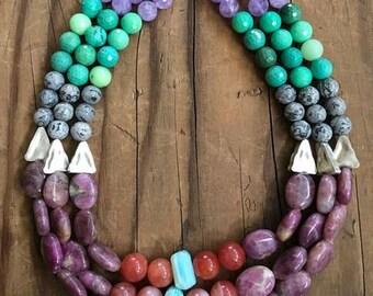 Rohe Rubin Halskette | Peruanischen Opal | Chrysopras | Cape Amethyst | Thai Silber | Ombre Halskette | Edelstein