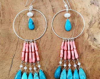 Coral Branch Earrings | Blue Moon Turquoise | Moonstone | Pearl Chalcedony | Bohemian | Gemstone