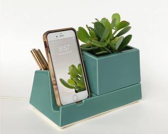Phone Dock Planter, Teal