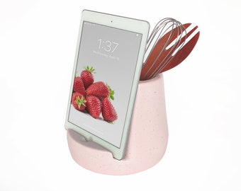 Stak Ceramics Kitchen Tablet Stand and Utensil Holder, Pink