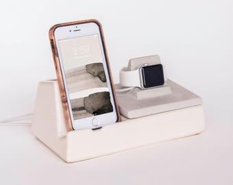 STAK Phone Dock and Apple Watch Charger, White