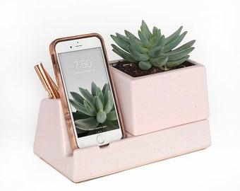 Phone Dock Planter, Pale Pink Speckle
