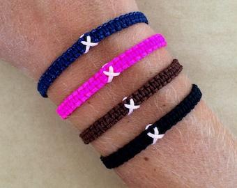 Breast Cancer Awareness Macrame Bracelet with Pink Ribbon - Survivor Bracelet, Hope, Strength, Support Bracelet