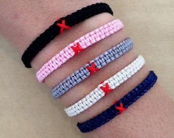 AIDS / HIV / No Drugs Red Ribbon Awareness Bracelet - Red Ribbon, Substance Abuse Bracelet