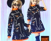 Nu.Face Doll Haunt Couture quot Black Cat Sweater Dress quot high fashion barbie doll clothes Fashionista Witch Halloween