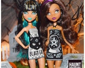 Monster Doll Haunt Couture Halloween quot Glow in the Dark Tarot Minis quot fierce ever after high fashion outfit Spooky Skull Black Cat