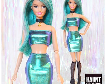 "Barbie Doll Haunt Couture ""12"" Oil Slick 2 piece"" high fashion doll clothes Barbie 
