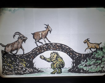 Shadow Puppet Theater - With 3 Billy Goats Gruff + 5 Animal Fables: Dog+Bone, Wolf+Dog, Wolf+Goat, Cat+Fox, Cat+Goat, 2 Goats on Bridge,